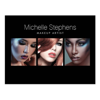 Modern Photo Trio for Makeup Artists Black Postcard