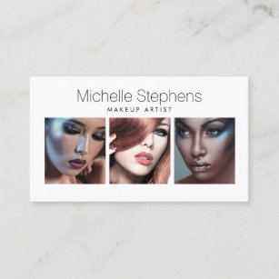 Cosmetics business cards zazzle modern photo trio for makeup artists stylists business card colourmoves