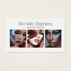 Modern Photo Trio for Makeup Artists, Stylists Business Card at Zazzle
