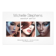 Modern Photo Trio For Makeup Artists, Stylists Flyer at Zazzle