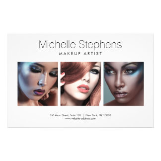 Modern Photo Trio for Makeup Artists, Stylists Flyer