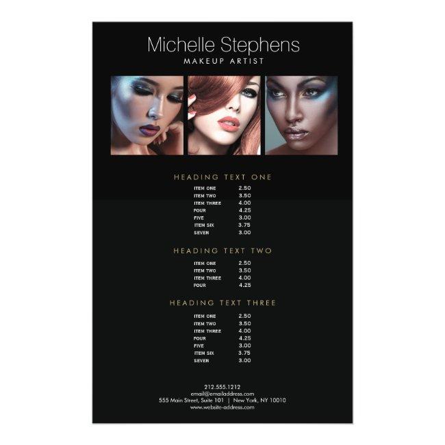 Modern Photo Trio Makeup Artists Black Price List Flyer