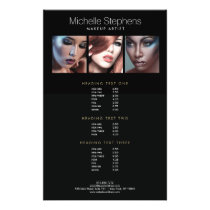 Modern Photo Trio Makeup Artists Black Price List Flyer