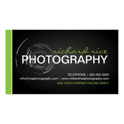 Modern photographer business cards designed by colourful designs inc
