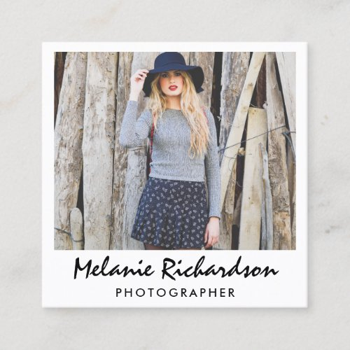Modern Photographer Instant Camera Style Script Square Business Card