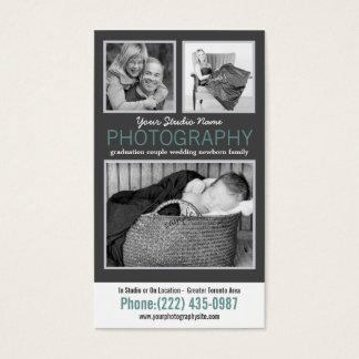 Modern Photographer with 3 Sample Photos Business Card