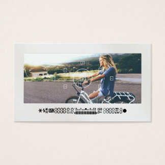 Modern photography camera viewfinder cool white business card