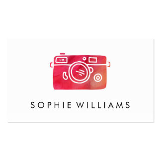 Modern Photography Red Watercolor Texture Business Card