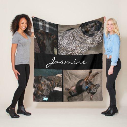 Modern Photos Collage  Fleece Dog Blanket