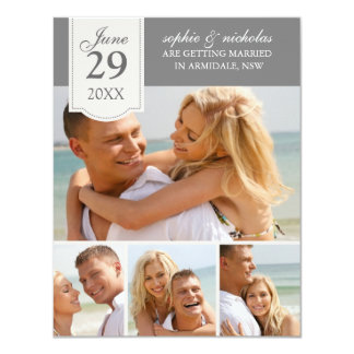 Modern photos wedding save the date 4.25x5.5 paper invitation card