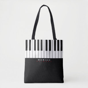 Modern Piano Music All Over Tote Bag With Name