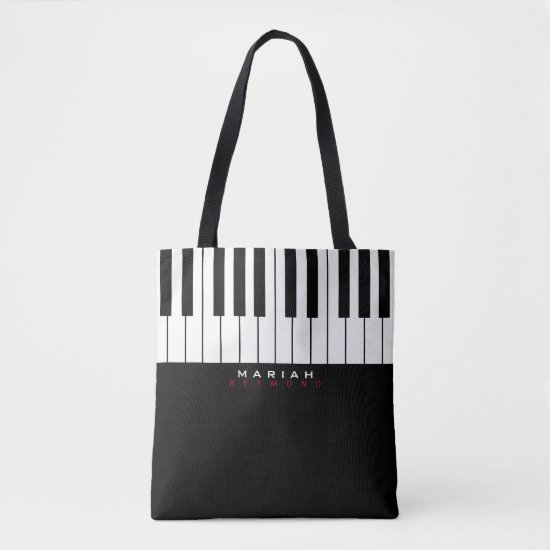 modern piano music all-over tote bag with name