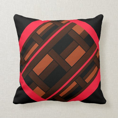 Modern Pillow -Home Decor-Coral/Brown/Black/Orange