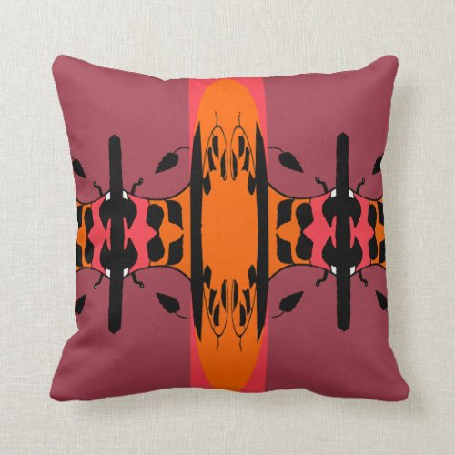 Modern Pillow-Home Decor-Coral,/Orange/Mauve/Black Throw Pillow