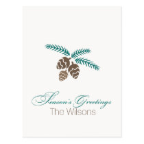 Modern Pine Cones Season's Greetings postCards