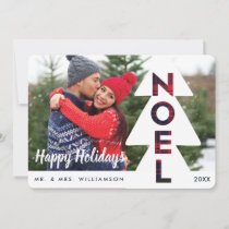 Modern Pine Tree & Plaid Noel Newlyweds Photo Holiday Card