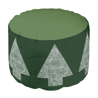 Modern Pine Tree Round Pouf