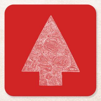 Modern Pine Tree Square Paper Coaster