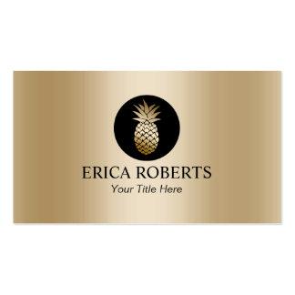Modern Pineapple Foil Gold Wedding Event Planning Business Card