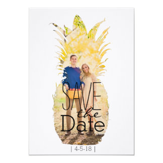 Modern Pineapple Save The Date | Tropical Wedding Card