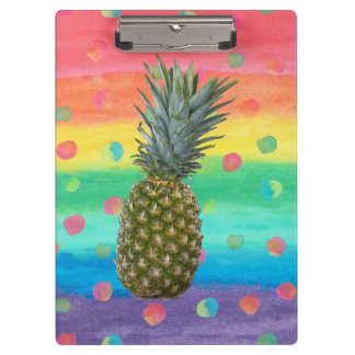 Modern Pineapple Watercolor Stripes and Spots Clipboard