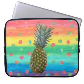 Modern Pineapple Watercolor Stripes and Spots Computer Sleeve