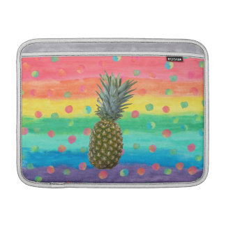Modern Pineapple Watercolor Stripes and Spots MacBook Sleeve