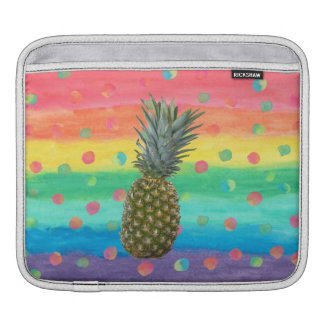 Modern Pineapple Watercolor Stripes and Spots Sleeve For iPads