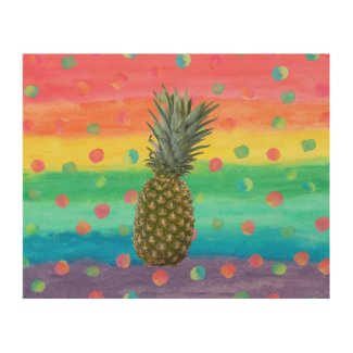 Modern Pineapple Watercolor Stripes and Spots Wood Wall Art