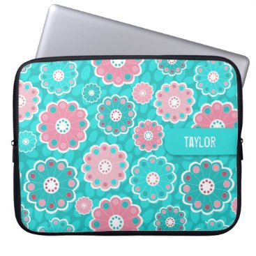 Professional Business Modern pink and aqua floral computer sleeve