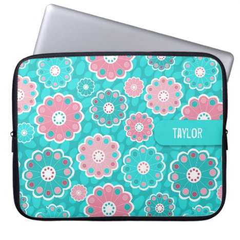 Modern pink and aqua floral computer sleeve