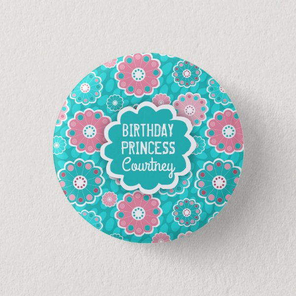 Modern pink and aqua personalised floral button
