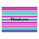 Modern pink and baby blue stripes card