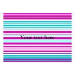 Modern pink and baby blue stripes custom invite