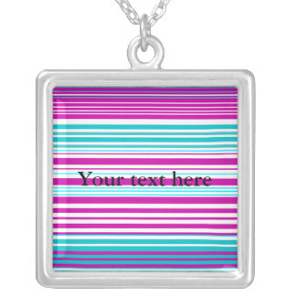 Modern pink and baby blue stripes square pendant necklace