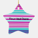 Modern pink and baby blue stripes christmas ornament