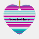 Modern pink and baby blue stripes christmas tree ornament
