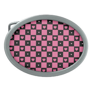 Modern Pink and Black Checker Pattern Girly Hearts Oval Belt Buckle