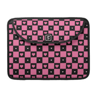 Modern Pink and Black Checker Pattern Girly Hearts Sleeve For MacBooks