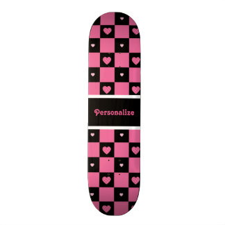 Modern Pink and Black Checkered Hearts With Name Skateboard Deck