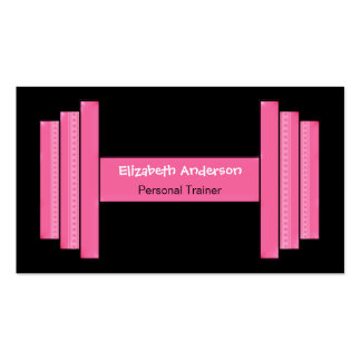 Modern Pink And Black Personal Trainer Double-Sided Standard Business Cards (Pack Of 100)