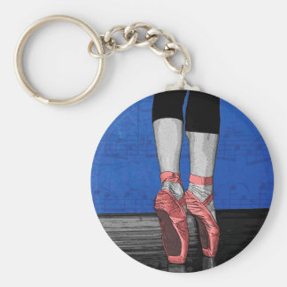 Modern Pink and Blue Dancing Ballerina - Point Sh Basic Round Button Keychain