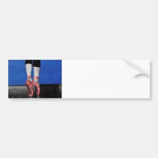 Modern Pink and Blue Dancing Ballerina - Point Sh Bumper Sticker