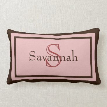 Modern Pink and Brown Monogram Name Accent Pillow