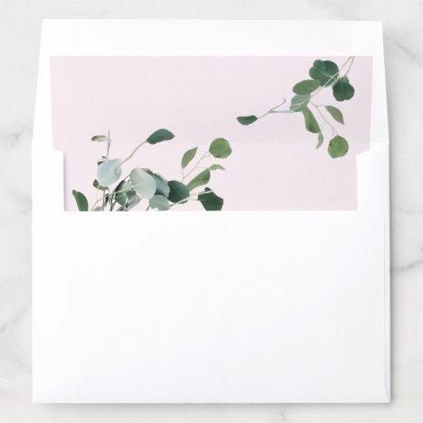 Modern Pink and Green Botanical Eucalyptus leaves Envelope Liner