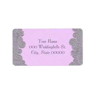 Modern Pink and Grey Swirls Wedding Address Labels