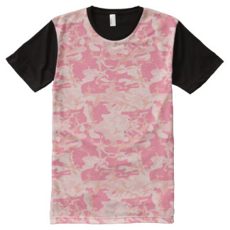 Modern Pink and Peach Camo Camouflage All-Over Print Shirt