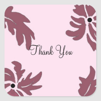 Modern Pink and Raspberry Floral Thank You Square Sticker