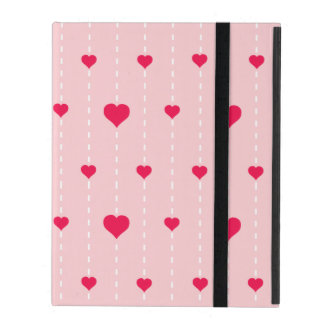 Modern Pink And Red Hearts Pattern iPad Case