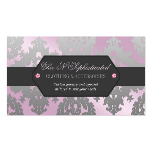 Modern Pink and Silver Damask Business Card